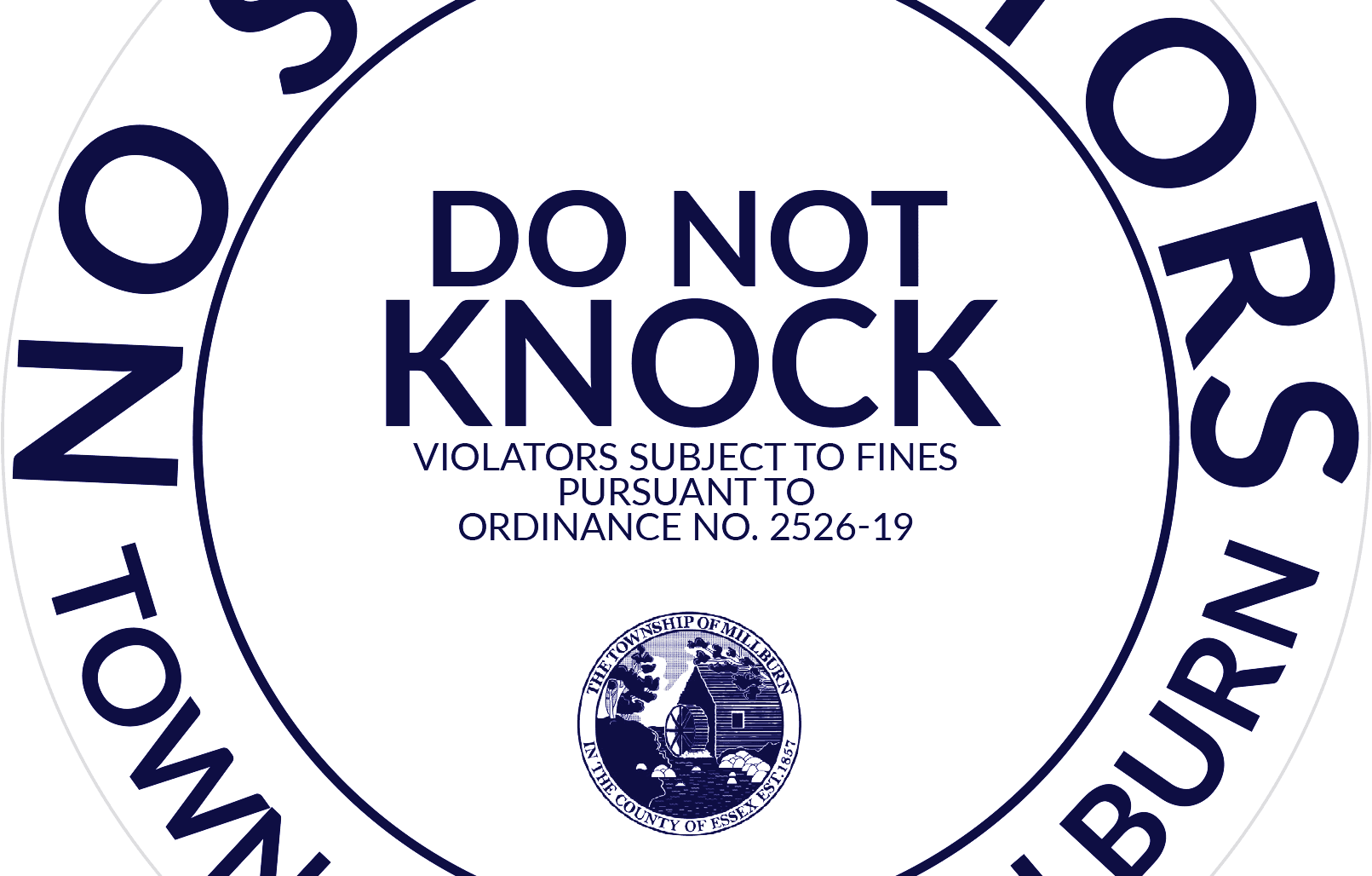 Blue and White Do Not Knock Sticker for use within the Township of Millburn
