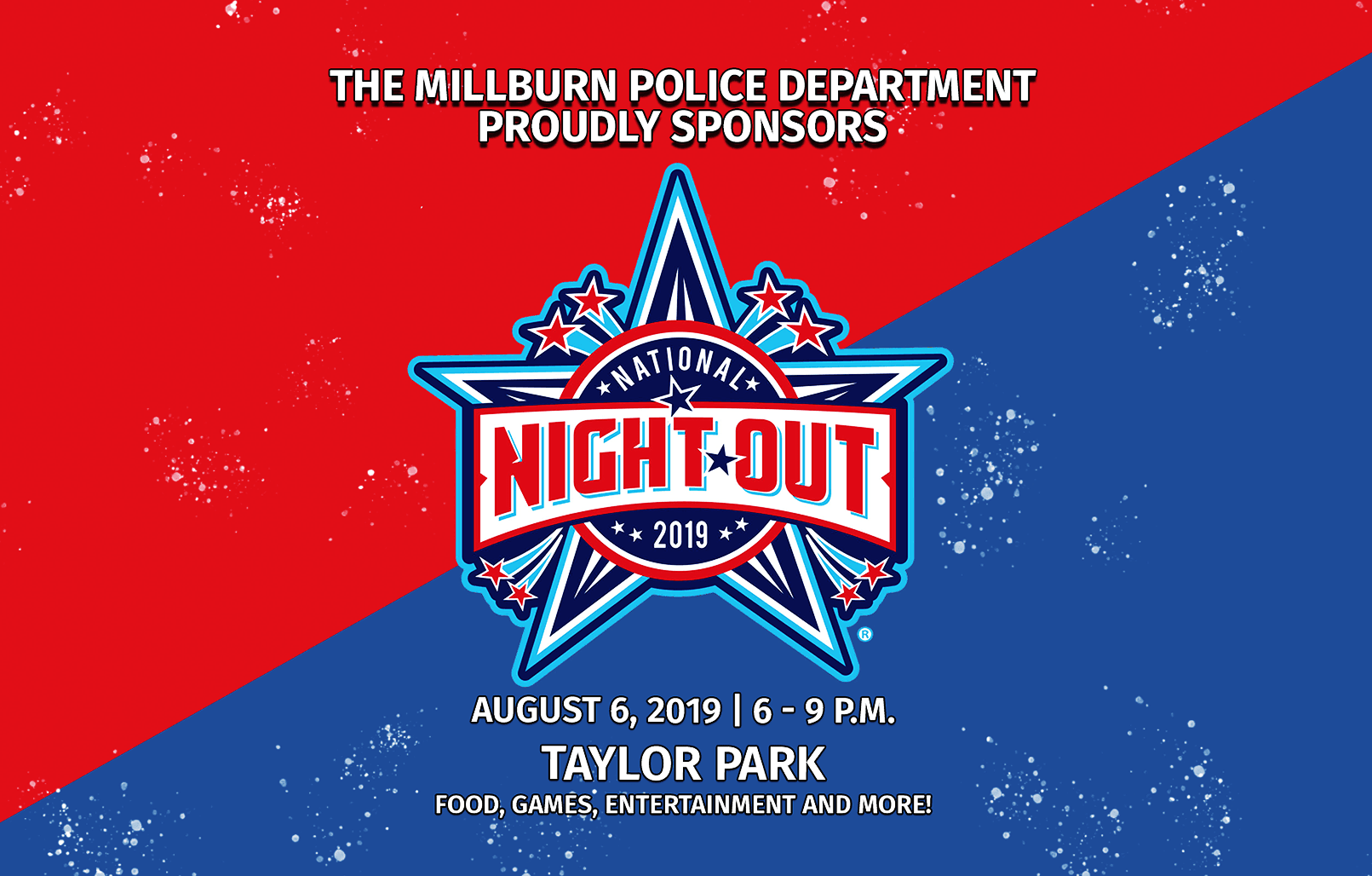 National Night Out logo with date and time information on event