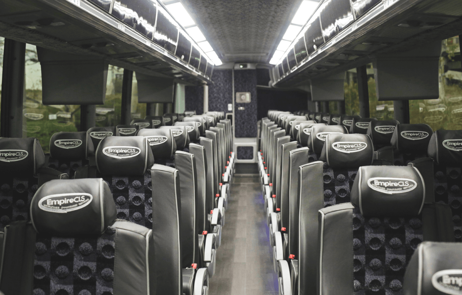 Interior of NYC commuter bus