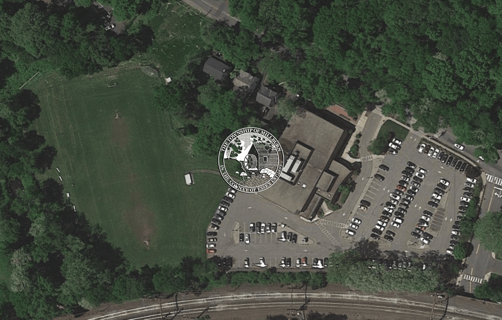 Aerial view of Millburn Free Public Library and Library Athletic Field
