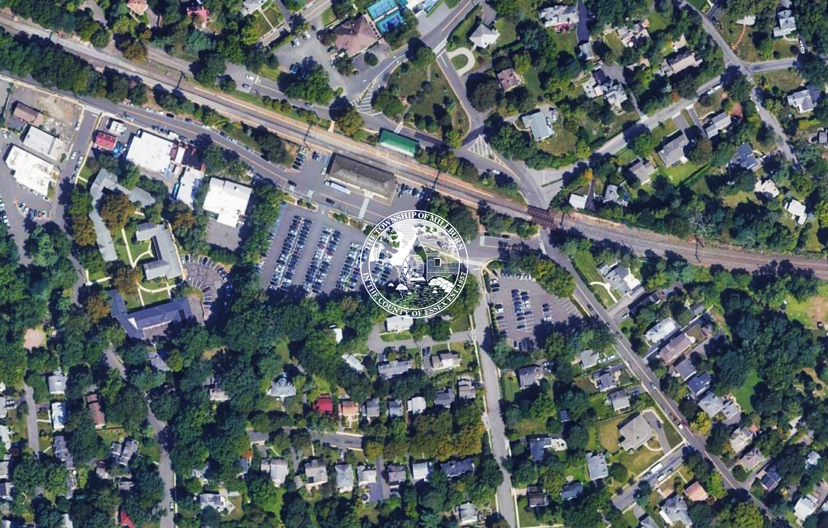 Aerial view of Short Hills Train Station parking lots