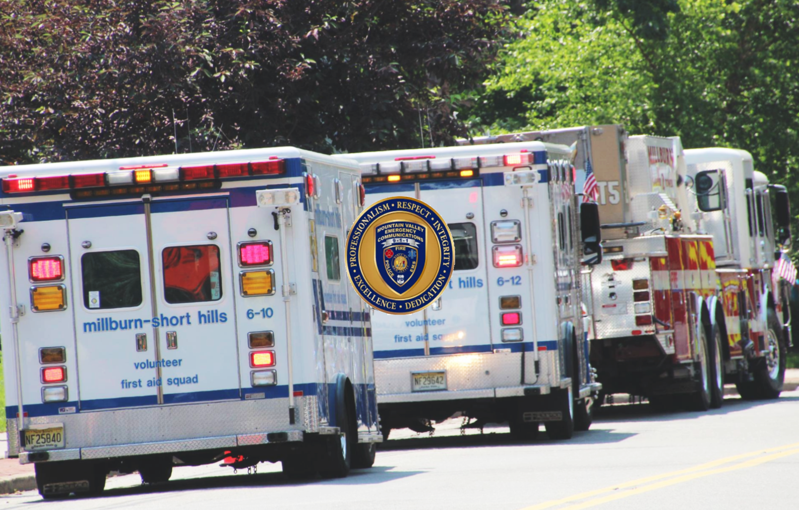 Millburn Short Hills First Responder ambulances driving into distance