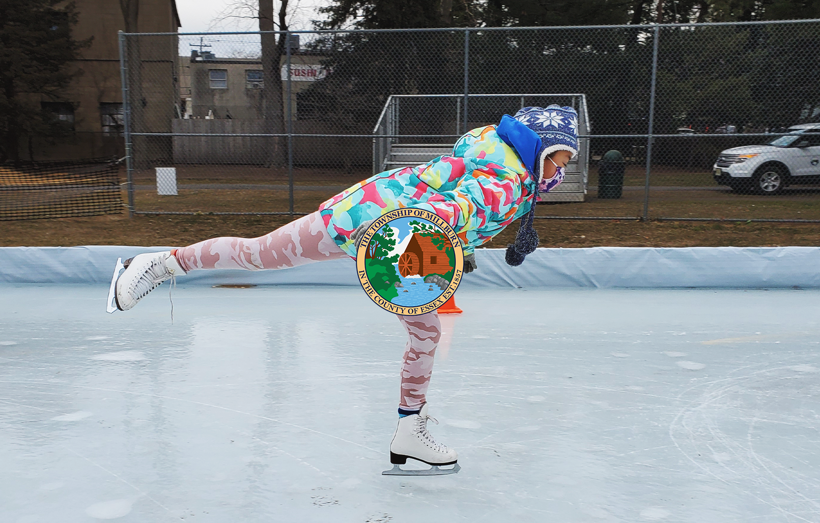 Millburn Resident skating on temporary ice rink in Taylor Park