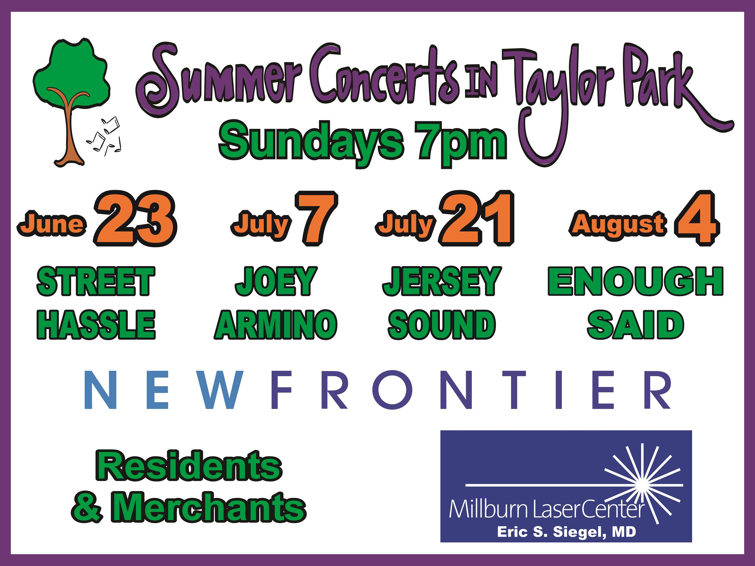 Summer Concerts in Taylor Park Lineup Poster 2019