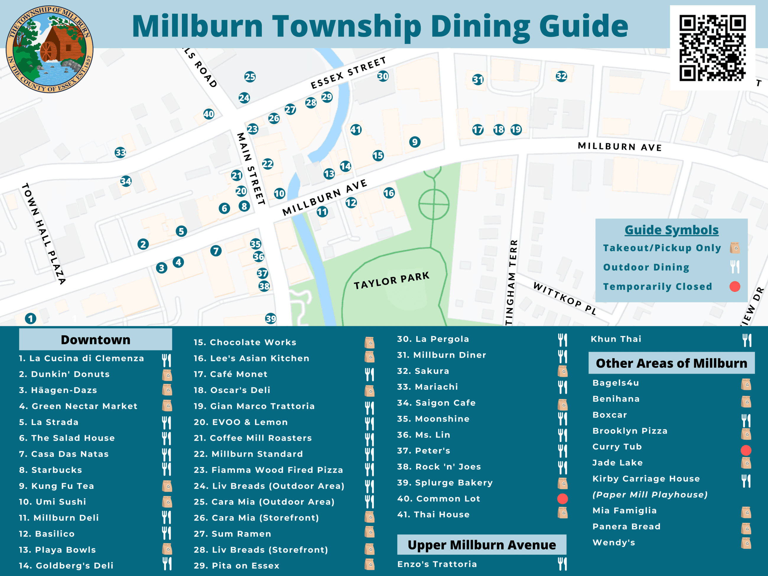 Map of Millburn with icons highlighting local businesses with what their current offerings are Opens in new window
