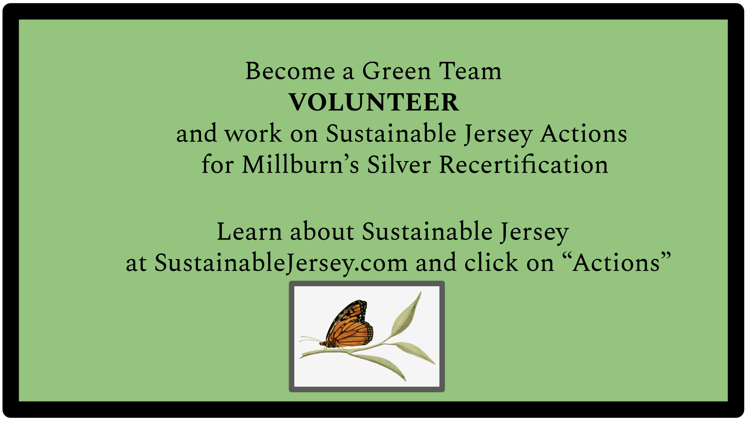 "Black text on green background that says ""become a green team volunteer"""